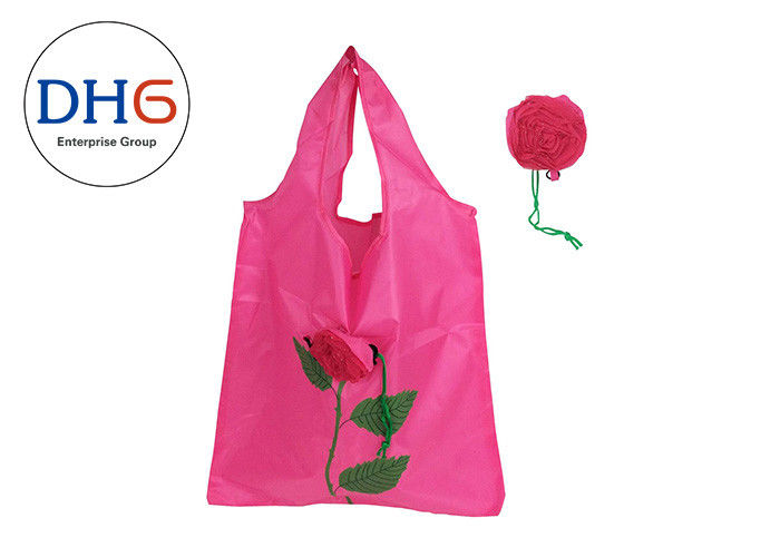 Pink Sturdy Polyester Tote Bags , Reusable Tote Bags Embroidered Hand Crafted